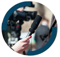 A microphone within the RMA logo